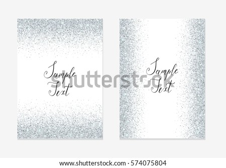 Silver Glitter Background Silver Sparkle Frame Stock