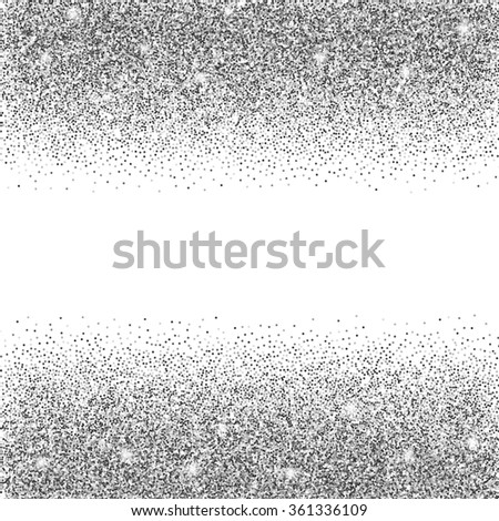 silver glitter background. silver sparkles on white background. Creative invitation for party, holiday, wedding, birthday. Vector illustration. Glitter seamless texture. Trendy modern illustration - stock vector