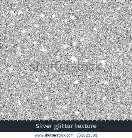 Silver glitter texture - stock vector