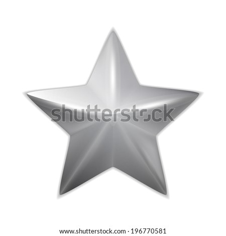 Silver glossy christmas star isolated on white. Vector - stock vector