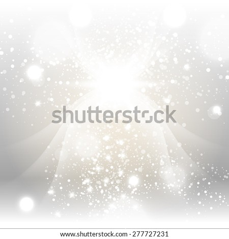 Silver Gold Sparks Winter Soft Pastel Bokeh Pale Abstract Background Vector Illustration