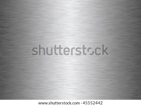 silver gray brushed aluminum metal background with light reflection - stock vector