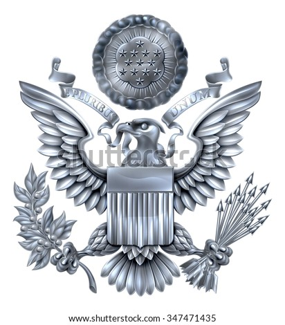 Silver Great Seal of the United States American eagle design with bald eagle holding an olive branch and arrows with American flag shield. With E pluribus unum scroll  and stars glory over his head. - stock vector