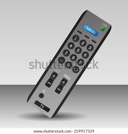 Silver grey tv remote control technology isolated - stock vector