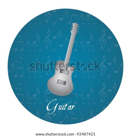 silver guitar over circle tag isolated over white background. vector - stock vector