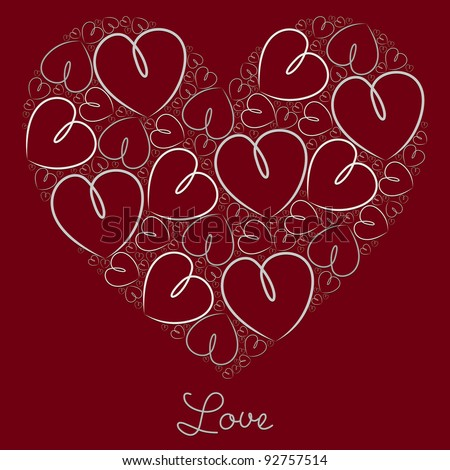 Silver hand drawn heart of hearts card in vector format. - stock vector