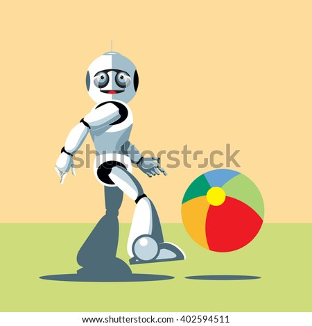 Silver humanoid robot playing with a colorful ball. Digital background vector illustration. - stock vector