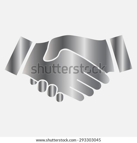 Silver icon handshake. background for business and finance