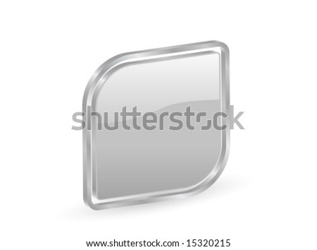 Silver icon with metal contour, isolated on white background. Vector illustration.