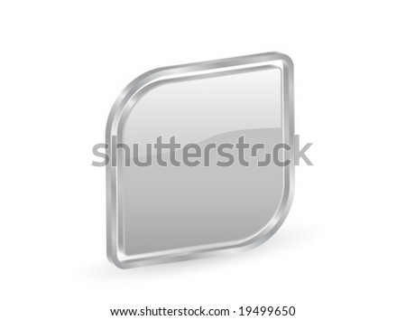 Silver icon with metal contour, isolated on white background. Vector illustration