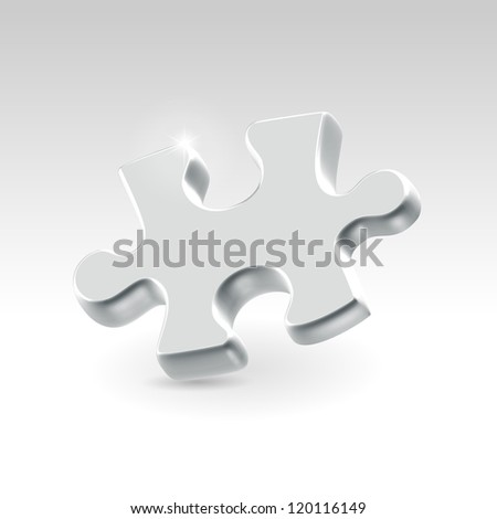 Silver jigsaw puzzle piece hanging alone over light background - business concept illustration. - stock vector