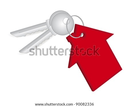 silver key and red house - stock vector