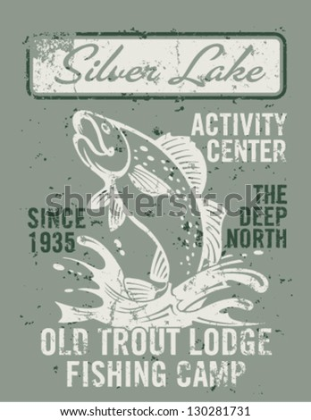 Silver lake fishing - artwork for boy wear in custom colors - stock vector