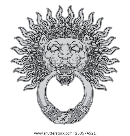 Silver lion head on black background. Door knocker. Hand drawn vector illustration - stock vector