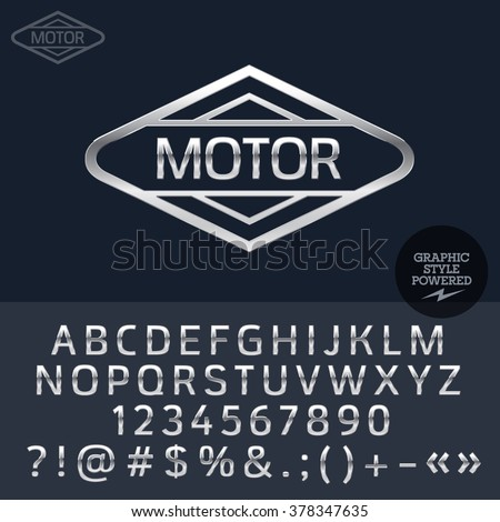 Silver logo for motorbike and car shop. Vector set of letters, numbers and symbols. - stock vector
