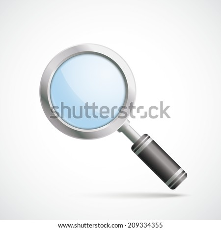 Silver loupe on the white background. Eps 10 vector file. - stock vector