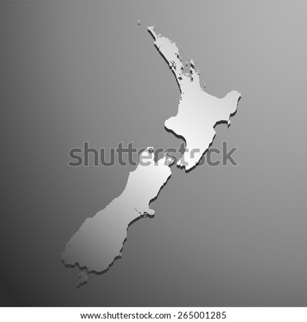 silver map of new-zealand