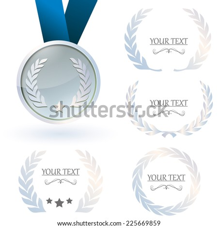 Silver medal and laurel wreaths collection on white background. - stock vector
