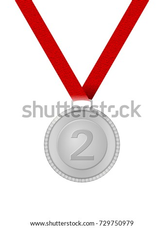 Silver medal on a white background. Vector illustration.