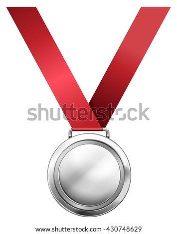 Silver medal with red ribbon illustration