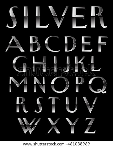 Silver Metal alphabetic fonts.