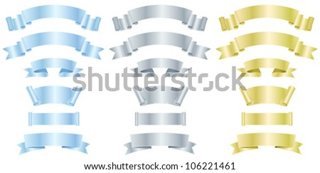 Silver, Metal And Gold Banners Or Ribbons/ Illustration of a set of various metal, silver and gold banners, scrolls,  awards and ribbons - stock vector