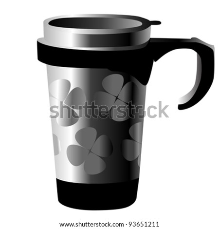 silver metal cup with shamrocks isolated on white - stock vector