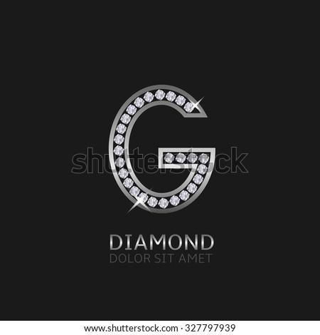 Silver metal letter G logo with diamonds. Luxury, royal, wealth, glamour symbol. Vector illustration - stock vector
