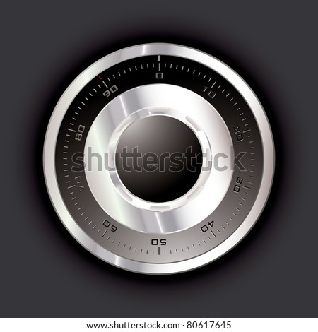 Silver metal safe dial with black background - stock vector