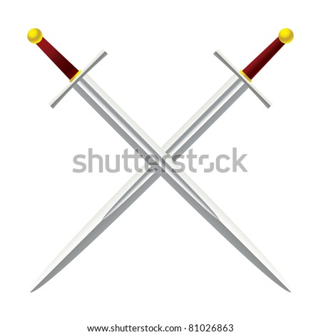 Silver metal sword crossed with red handles - stock vector