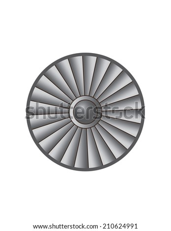 silver metal vector round turbine illustration with flaps and shadows - stock vector