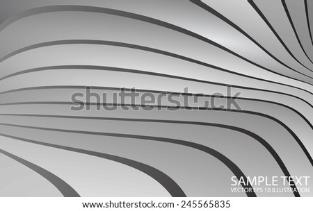 Silver metallic striped abstract vector background illustration - Abstract  curved  metal  vector design template - stock vector