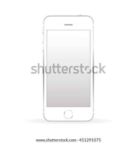 Silver mobile phone front  with shadow isolated on white background