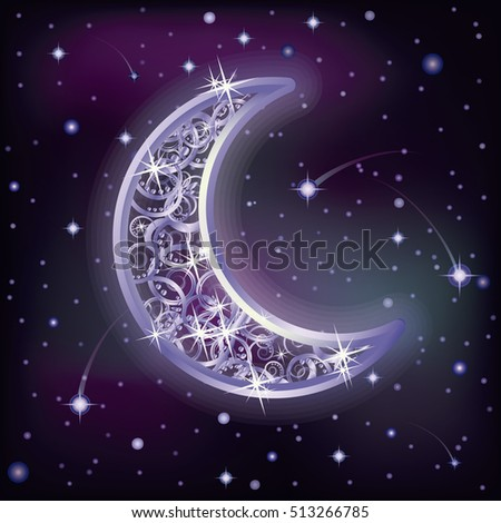 Silver moon and night starry sky, vector illustration