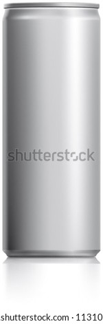 Silver narrow thin can vector visual 250 ml, ideal for cola, soft drinks, soda, fizzy pop, alcohol, lemonade, energy drink, juice, water etc. Drawn with mesh tool. Fully adjustable & scalable - stock vector