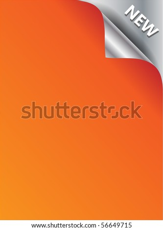 Silver NEW corner background - paper with curl - stock vector