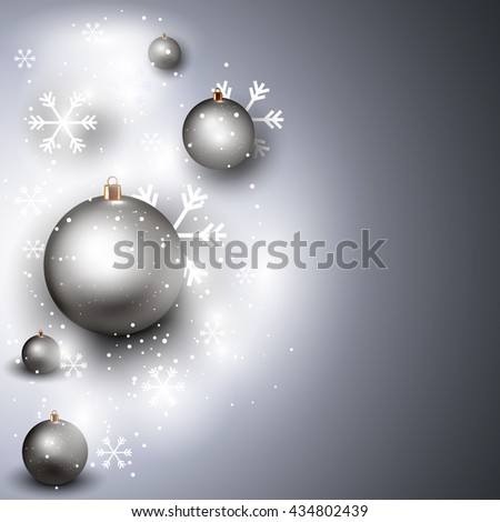Silver New Year Background with Realistic Christmas Balls and Snowflakes. 3D Illustration