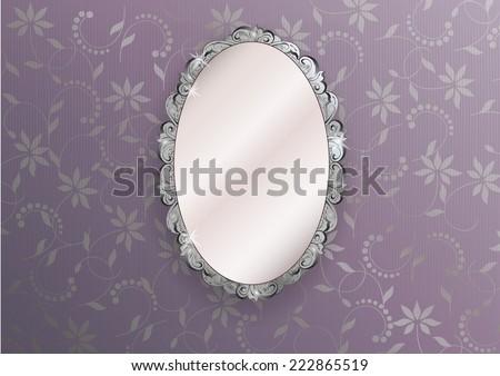 silver ornate vintage mirror - vector illustration - stock vector