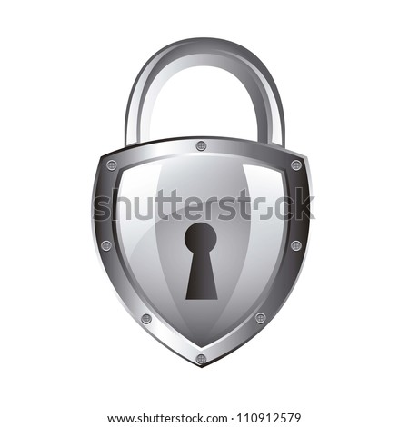 silver padlock isolated over white background. vector illustration - stock vector