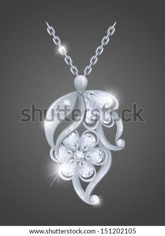 Silver pendant with diamonds. - stock vector