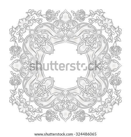 Silver Persian frame - stock vector