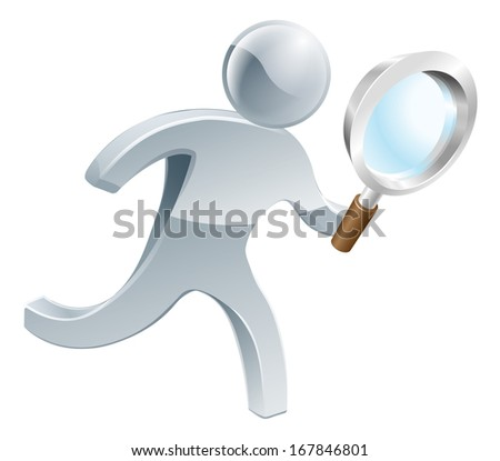 Silver person running along looking through magnifying glass, searching for something - stock vector