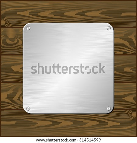 silver plaque on dark board - stock vector