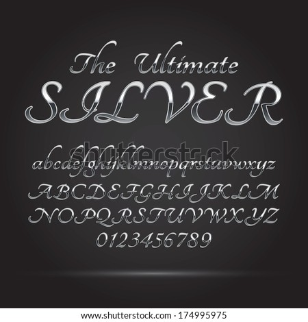 Silver Platinum Font and Numbers, Eps 10 Vector, Editable for any Background - stock vector