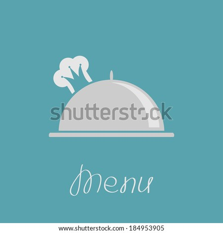 Silver platter cloche and chef  hat in shape of crown. Menu cover. Vector illustration. - stock vector