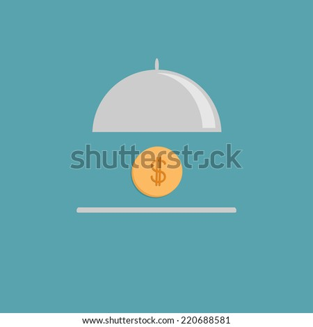 Silver platter cloche and gold dollar coin. Flat design style. Vector illustration - stock vector