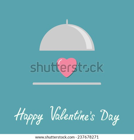 Silver platter cloche and pink heart. Flat design style. Happy Valentines day card Vector illustration - stock vector