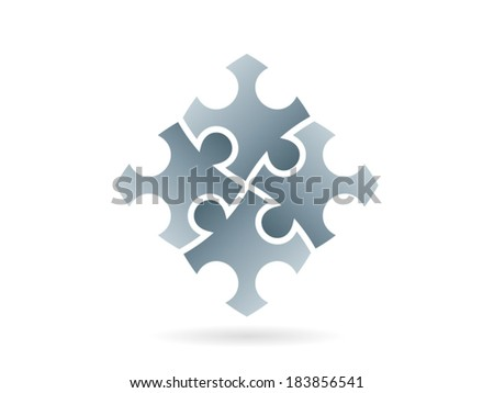 Silver puzzle pieces forming a whole square in movement vector graphic illustration template isolated on white background - stock vector