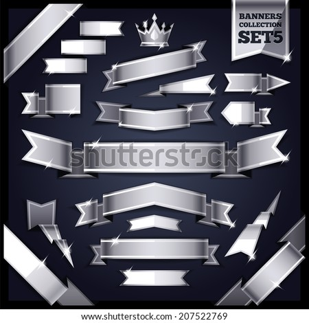 Silver Ribbons Banners Collection Set5. In the EPS file each element is grouped separately. - stock vector