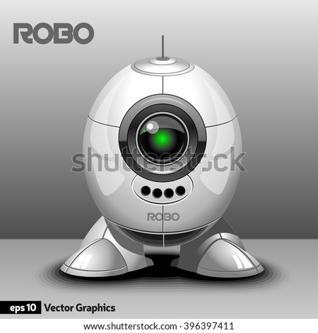 Silver Robot with Eye Camera, Antenna and Legs. Cyborg Model with Artificial Intelligence for Techno Expo. Digital background vector illustration. - stock vector